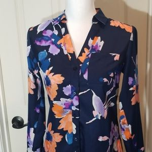 The Limited, drk blue floral,  button down blouse